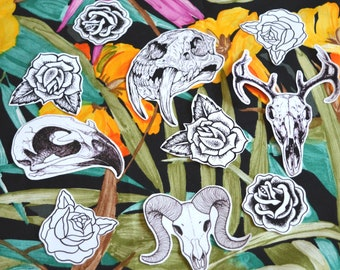 Skulls and Roses Stickers