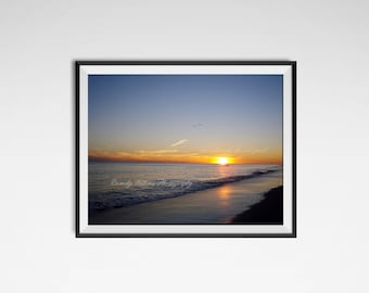 Sunset photography print, Beach decor, beach photography print, landscape photography, nature photography, Beach wall art, sunset beach