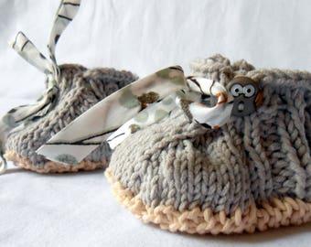 Baby 6-9 months in grey and ecru cotton handknit OWL decor