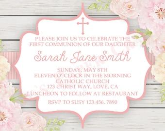 Floral First Communion Invitation, Digital File, You Print