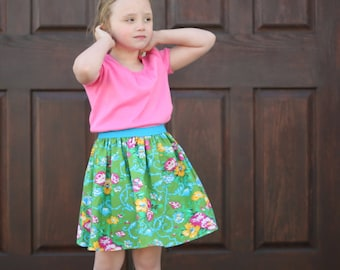 Simple Skirt Pattern Whimsy Couture Sewing Pattern Tutorial -- Elastic Banded Skirt -- sizes 0m through 14 girls PDF Instant