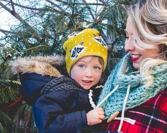 Boy slouchy beanie winter hat yellow racoon spoonflower
