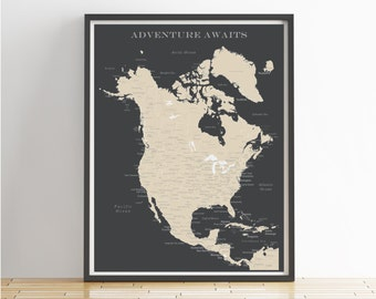 North America Push Pin Map (Print Only), Canada Map, Mexico Map, Travel Map, Map Poster, Travel Board, Wedding - Anniversary Gift
