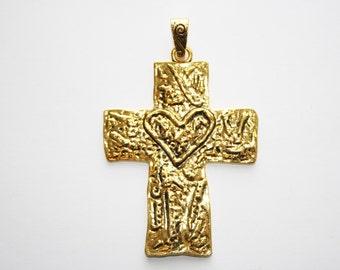 Cross, Gold Tone, Pendant, Statement Pendant, Large Cross Pendant, Charm - 83x61mm - 1ct - #609