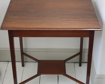 Edwardian Square Occasional Table with Small Shelf
