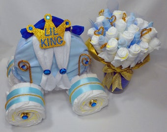 Prince Baby Shower - Boy Diaper Cake - Baby Shower Centerpiece - Prince Carriage and Diaper Bouquet Combo - Baby Shower Gift - Unique Gift