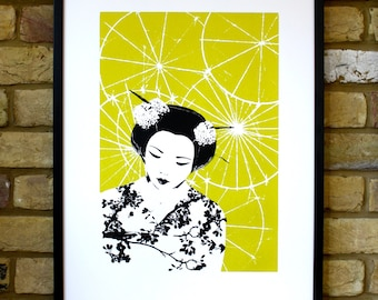 Japanese print, 50 x 70 limited edition screen print, geisha print, Japanese geisha art, chartreuse art, contemporary art print
