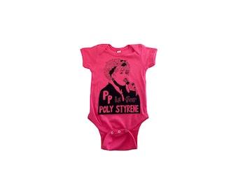 """Feminist Onesie - P is for Poly Styrene w/ 9X12"""" Screen Print Feminist Gift Set"""