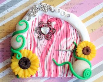 Fairy door, polymer clay, fairy garden props, pixie portal, whimsical fairy, wall decor, playroom decor, pink fairy door, sunflowers