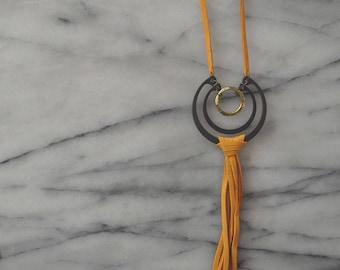 Double Arc + Leather Fringe Necklace