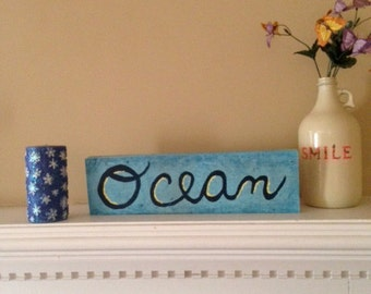 "ocean wood block  17"" x 5"""