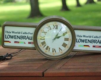 Vintage Lowenbrau Beer Lighted Clock, 1987, Advertising Clock, Man Cave Clock, Beer Cave, German Beer, Rare Clock