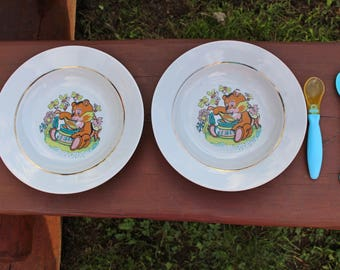 Vintage kids soup bowl Set of 2 Soviet kids porcelain bowl Soviet kids plate Vintage teddy bear plate Vintage kids tableware