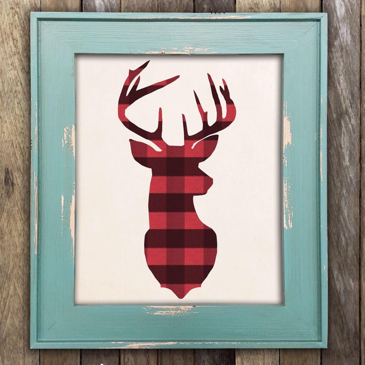 Deer Head Antler in Buffalo Plaid Woodland Buck Wall Art