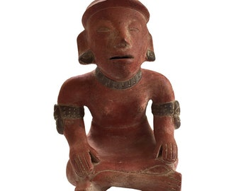 Terracotta Mexican Statue Princesa Xanath of Totonaca / Pre-Columbian Style Clay Statue / Xanath The Princess of Vanilla / Mexican Mythology