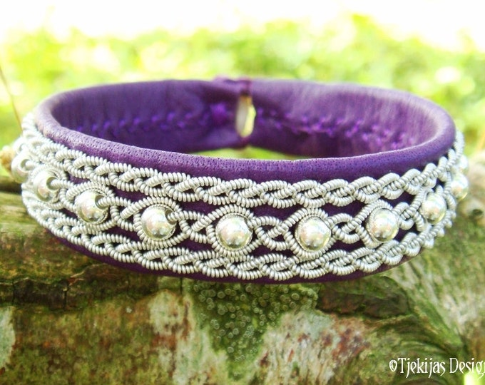 Swedish Sami Reindeer Leather Bracelet - Purple YDUN with Sterling Silver beads braided with Spun Pewter thread Handmade Scandinavian Design