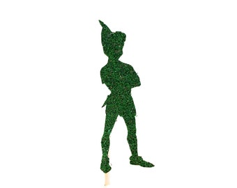 24 Green Glitter Peter Pan Cupcake Toppers - Party Picks - Food Picks