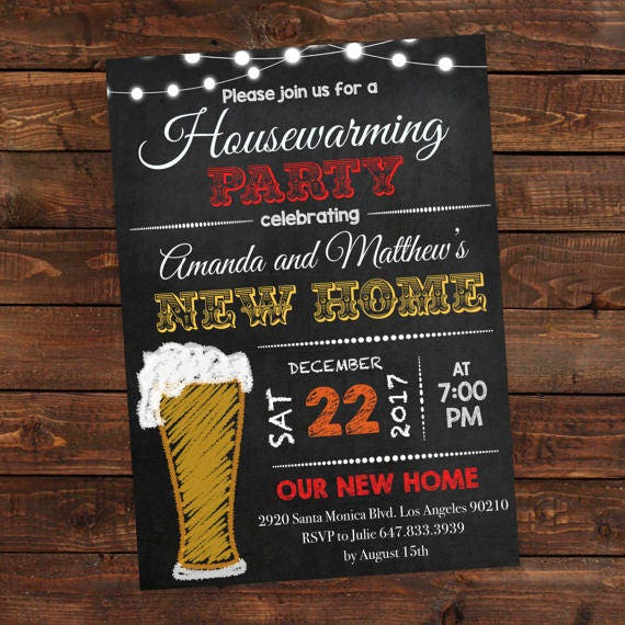 Chalkboard Beer Housewarming Invitation Beer Invitations