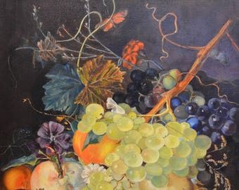 Original art fruits painting still art bedroom decor wall vibrant painting grapes present for her fruits oil kitchen food art gift canvas