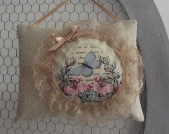 Shabby chic blue butterfly door cushion