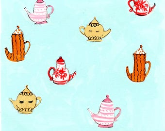 Teapot Pattern Print Of Gouache Illustration