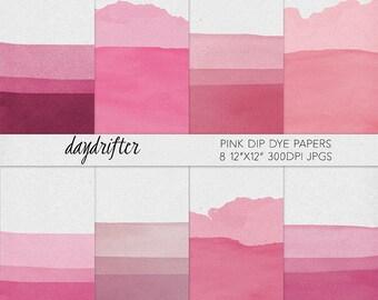 Pink Dip Dye Digital Paper - Ombre Watercolor Texture - Scrapbooking Background - Instant Download
