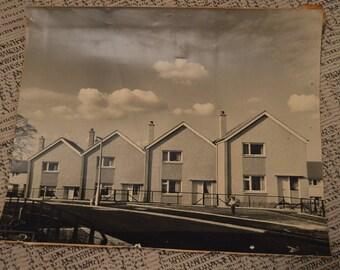 Vintage Black and White Edinburgh Scotland Cityscape Houses Original Large Photograph Picture 1960's