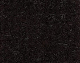 Faux Leather Fabric Upholstery Vinyl Embossed Trail824 Chocolate by the Yard