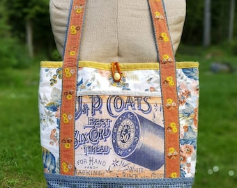 Handmade Tote / Market Bag, Vintage Fabrics and Trims, Canvas Lining, Pockets, Crocheted Loop Closure with Vintage Buttons, Granny Chic