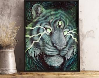 A4 or A3 ART PRINT Three Eyed Tiger