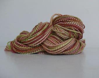 Merino Silk Handspun Wool Yarn, Worsted #4 Weight, 171yds, Dyed pink, green, orange
