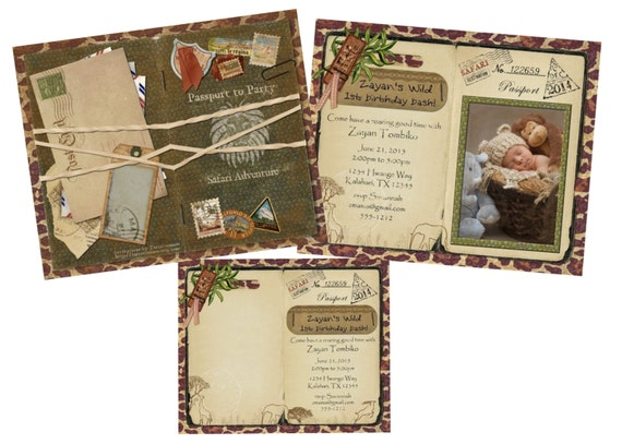 Safari Passport Invitation Announcement For Wedding Birthday - Bon voyage party invitation template