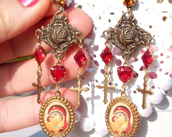 Virgin Mary w Baby Jesus Handmade Resin Chandelier Earrings - Catholic Religious Earrings - Virgin Mary - Gift Ideas - Colorful - Gift Ideas