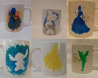 6 different Silhouette print mugs hand painted mug