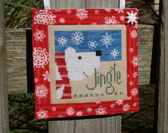 Finished Cross Stitch, Christmas Ornament, Polar Bear Ornament, Stitched Ornament, Cross Stitch Ornament, Jingle Christmas, Hanging Ornament