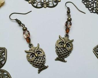 Earrings, Owl, eagle Owl, owl, steampunk, glass beads