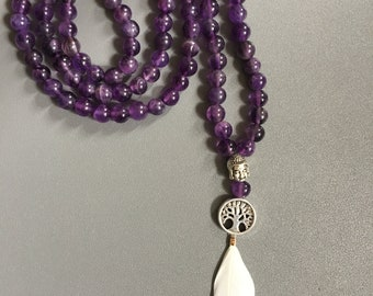 Amethyst/108 mala beads/feather white/tree of life/Buddha metal