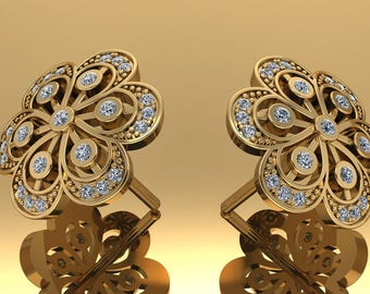 14K Yellow Gold Earring with White Diamonds    M-ER1004