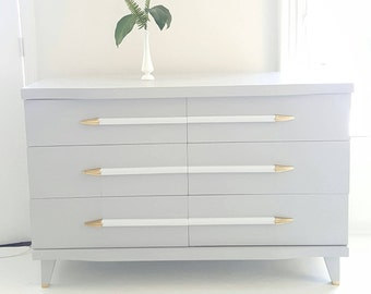 Sold#Mid Century Modern Dresser, Vintage Dresser Gray, White And Gold,  Painted