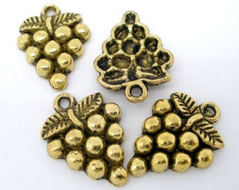 set of 5 charms gold metal grape cluster 19.5 * 14.50 mm