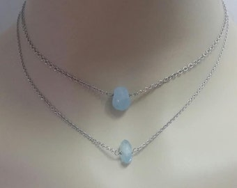 Dainty Aquamarine Choker Necklace Raw Aquamarine Necklace Rough Aquamarine Raw Gemstone  March Birthstone