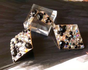 Black and clear EARRINGS, bridal earrings, statement earrings, fashion earrings, bridesmaid earrings, dangle earrings, chandelier earrings