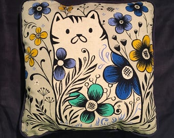 Sweets Kitty Cat Pillow, Cotton and Steel Penny Canvas with Navy Linen piping and back