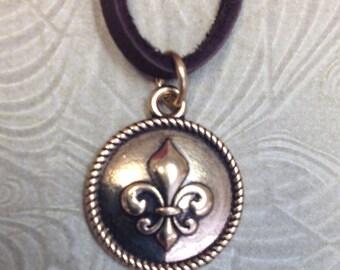 Fleur De Lis Charm Necklace, Faux Leather Necklace, Simply Cute Collection