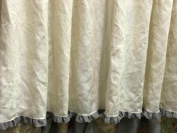 Linen Shower Curtain With 1 Ruffled Hem Lined Cream Grey Ruffle Pleated For Standard Rings