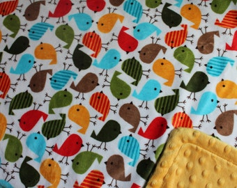 Minky Blanket - Unique Bird Minky Print with Mango Yellow Dimple Dot Minky Backing