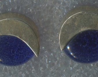 Vintage Earrings Cobalt Blue 12mm Glass Button Bead And Sterling Posts  (88303)