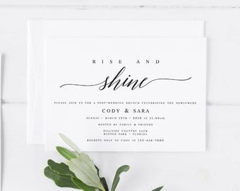 Wedding Brunch Invitation Template Rise And Shine Invitation Post Wedding  Invitation Editable Wedding Brunch Invite The Morning After #WP30
