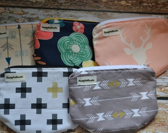 Set of 5 - Coin purses - change purses - stocking stuffer - gift - zippered bag - zippered pouch - cosmetics bag - credit card wallet