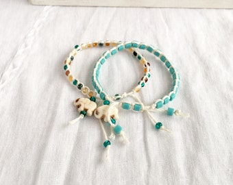 Howlite Elephant Charm Macramé Bracelet with Toho & Czech Glass Beads